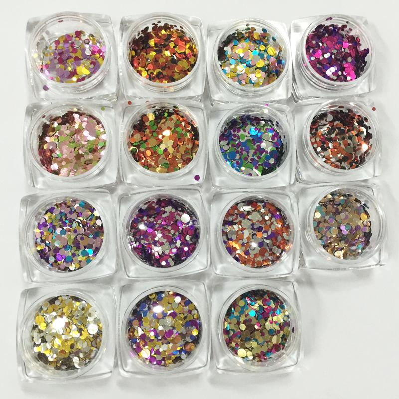 New! 16 Metallic Color Mixed Round Nail Sequins Colorful Nail Glitter Flake 1mm/2mm Nail Art Decorations Tools For Salon 2g(China (Mainland))