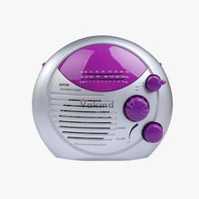 V1NF Purple Silver AM FM Shower Radio Bathroom Waterproof Hanging Music Radio