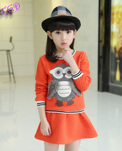 2016 Spring Children Girls Clothing Set Owl Character 2 Pieces Suit Kids Clothes Sets Tops+Skirts Sports Clothing Skirt Suits