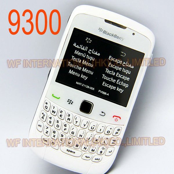 Original BlackBerry 9300 Curve Mobile Phone Smartphone Unlocked 3G WIFI Bluetooth Cellphone & White(China (Mainland))