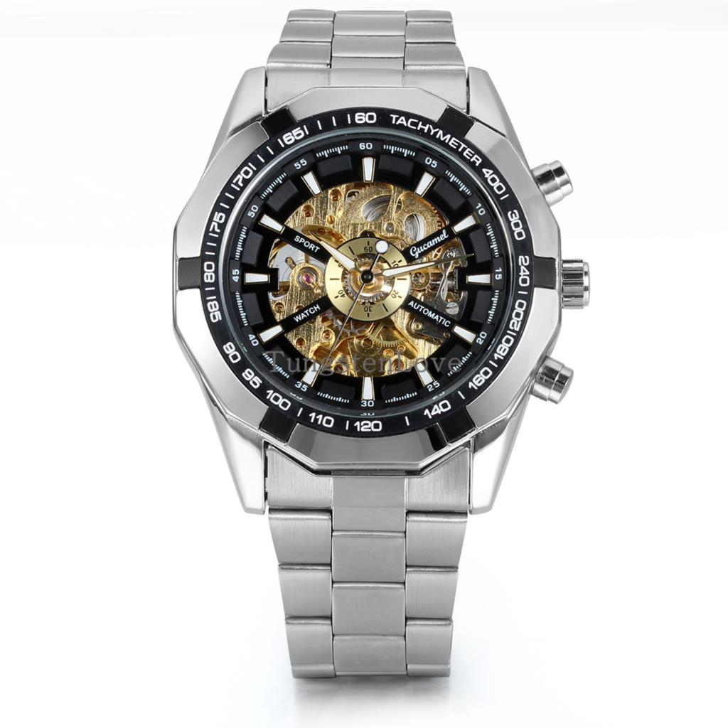 Brand New Luxury Black Bezel Skeleton Dial Automatic Mechanical Watch Stainless Steel Dress Business Men's Watch(China (Mainland))