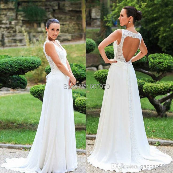 New Simple White Chiffon Wedding Dress vestidos de novia Bridal Gown with Lace Open Back Cheap white and Ivory(China (Mainland))
