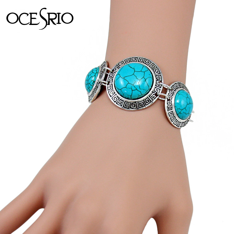 New Arrival Ethnic Blue Bracelet with Stones vintage tibetan silver turquoise bracelet chain bracelets for women 2016 brt-j63(China (Mainland))