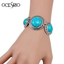 New Arrival Ethnic Blue Bracelet with Stones vintage tibetan silver turquoise bracelet chain bracelets for women 2016 brt-j63(China (Mainland))
