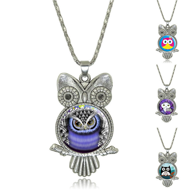 Vintage Owl Pendant Necklace Fashion Newest Glass Cabochon Bronze Accessories Statement chain Necklace For Women Jewelry(China (Mainland))