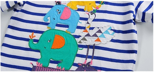 Little maven kids brand clothing 2016 new summer baby boys clothes t shirt Cotton embroidered elephant striped brand tops L099