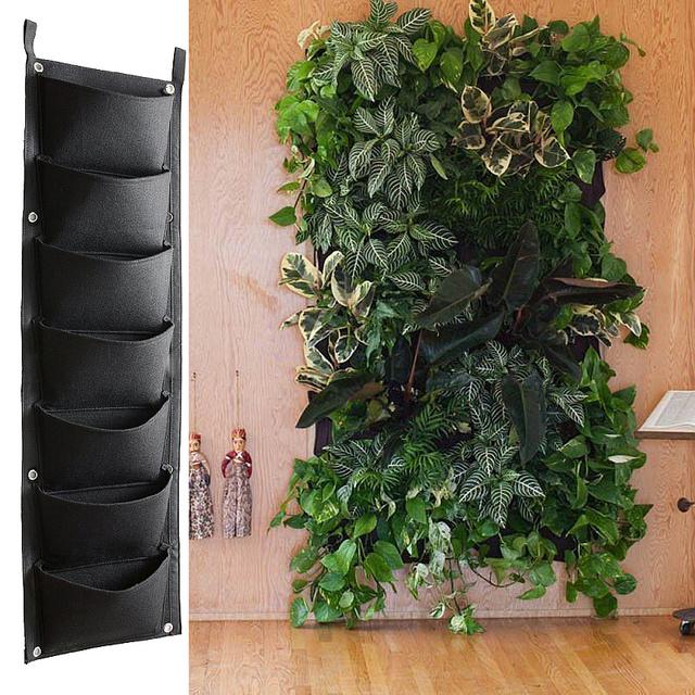 7 4 Pockets Black Hanging Vertical Wall Garden Planter