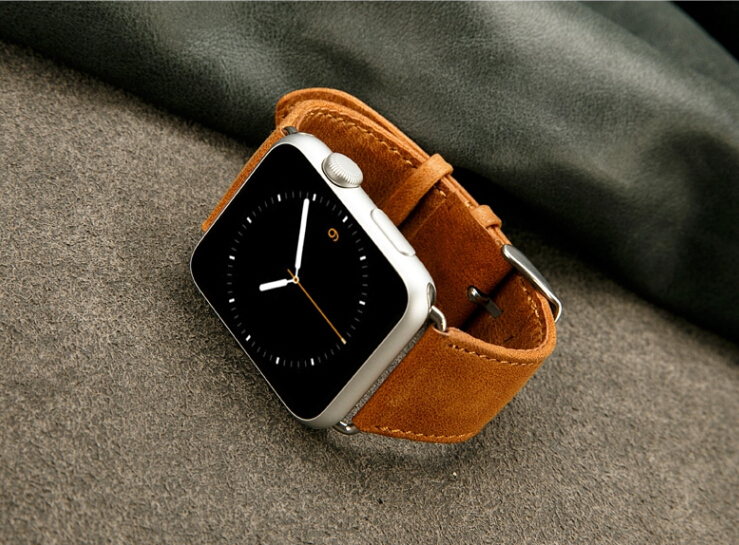 Luxury genuine leather watchband for Apple watch 42mm Slim Classical buckle handmade strap for Apple iwatch 42mm Free shipping(China (Mainland))