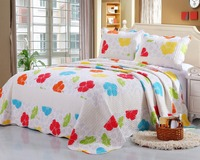 2015 hot sell 100%cotton bedspread colourful flower design quilt