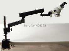 Envío gratis! 3.5X – 90X Binocular brazo articulado pilar Clamp + 144-LED microscopio Zoom estéreo