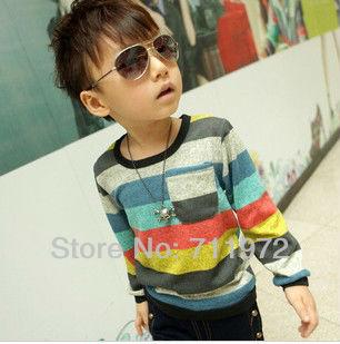 Boys T-shirts baby t shirts children Wavy line colored Stripe t shirt kids T-shirt retail 1pcs(China (Mainland))