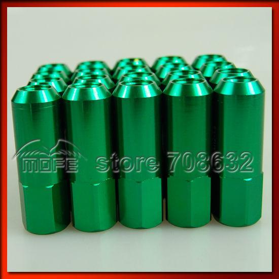 HIGH QUALITY Original Logo Aluminum AL7075 60mm Close Ended Racing Lug Nut P1.5 Green 20PCS/SET