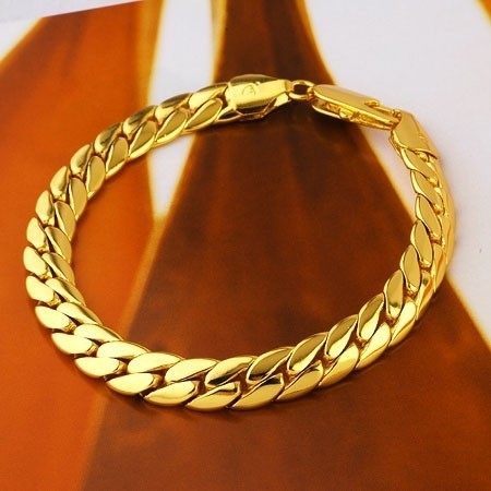Be curious 14K Yellow Gold GF Handsome Men's Chain Snake Bracelet 220mm(China (Mainland))