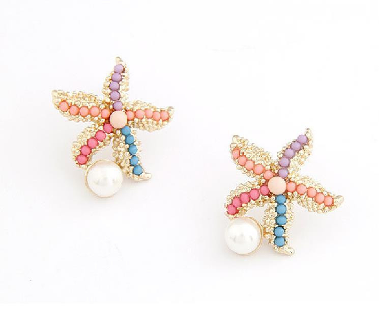 New Fashion Trend Antique Gold Plated Cute Faux Pearl Lovely Colorful Starfish African Beads Stud Earrings Jewerly(China (Mainland))