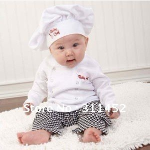 baby skirts funny chef costume,soft baby clothing.3 sets/lot,free shipping