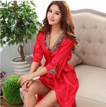 Sexy Silk Robe Set Spring And Summer Embroidered Bathrobe Women's Silk Lounge Twinset Sleepwear Plus Size Blue Silk Nightgown(China (Mainland))