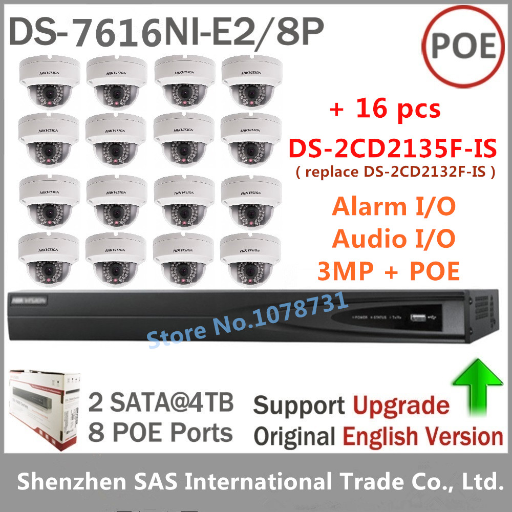 DS-7616NI-E2/8P +2TB HDD  + 16pcs DS-2CD2135F-IS Mini Dome Camera Replace of DS-2CD2132F-IS Support PoE Audio and Alarm