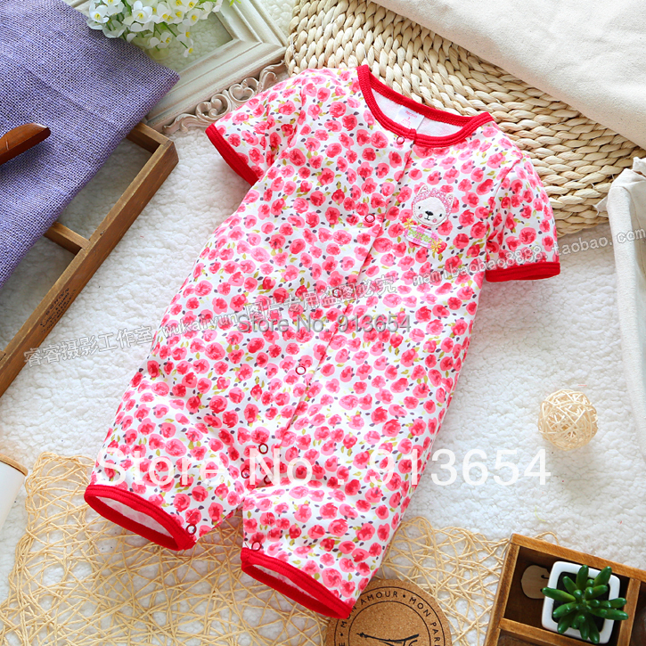 new 2014 summer baby clothing newborns Romper baby girls short sleeved jumpsuits child cute print shorts overalls baby wear(China (Mainland))