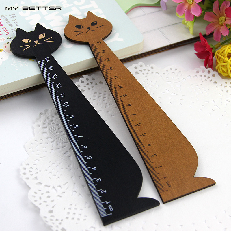1 Pcs 15cm Wood Straight Ruler Black Yellow Lovely Cat Shape Ruler Gift for Kids School Supplies Wholesale(China (Mainland))