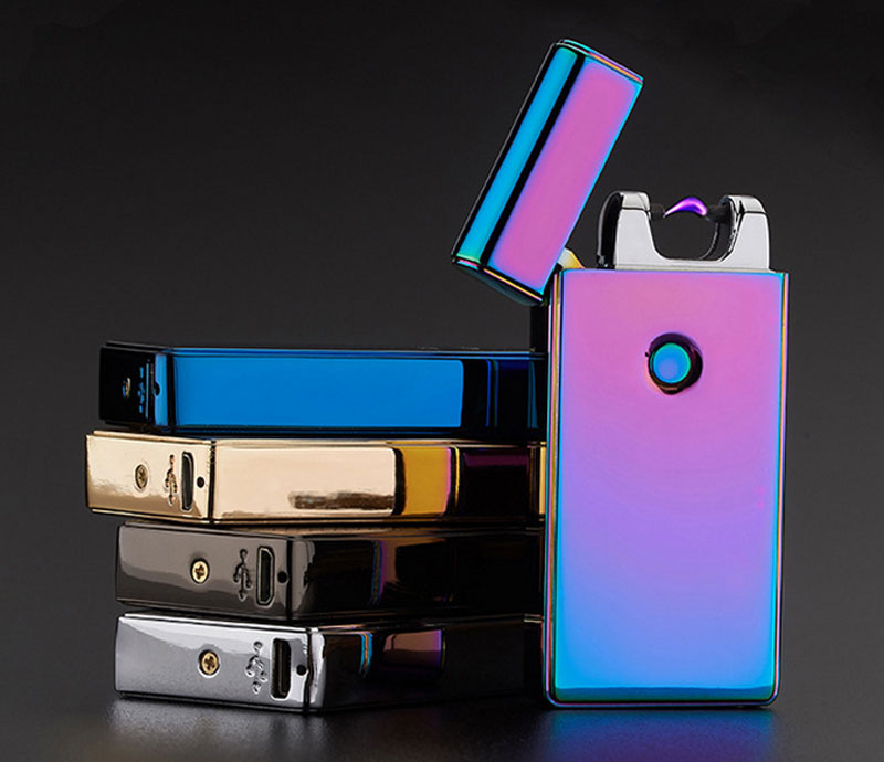 Usb rechargeable electronic cigarette lighter Windproof Pulse Arc Metal Fashion Lighter(China (Mainland))