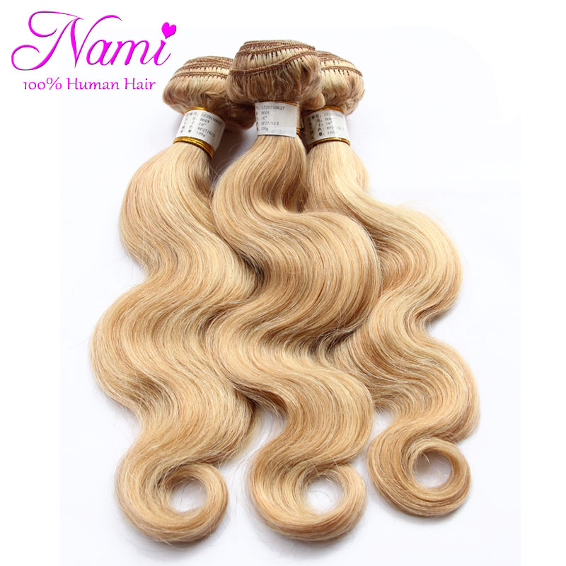 6A Brazilian Body Wave Remy Hair Blonde 100% Human Hair Weave Extensions 12''-26' ' 27/613 Colour 3pcs/Lot Free Shipping(China (Mainland))