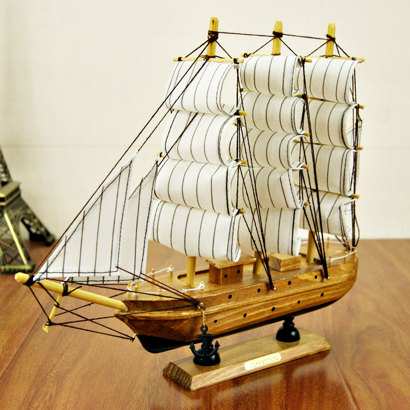 K2503 30CM wooden sailboat, super luxury sailing vessel gift Mediterranean amorous feelings Small crafts, decoration,(China (Mainland))