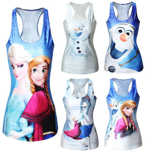 Fashion Womens T-shirt Frozen Movie Printed Women Tank Tops Elsa Bustier Crop Top Blue Camisole - Mayoya Romantic Manor Factory store
