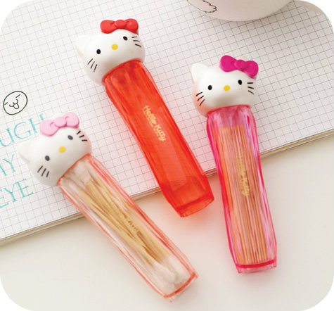 Hello Kitty Transparent Cotton Sticks Toothpick Holder.Pocket Small Portable Toothpick Box.Home Dining Table Decor.Storage Box(China (Mainland))