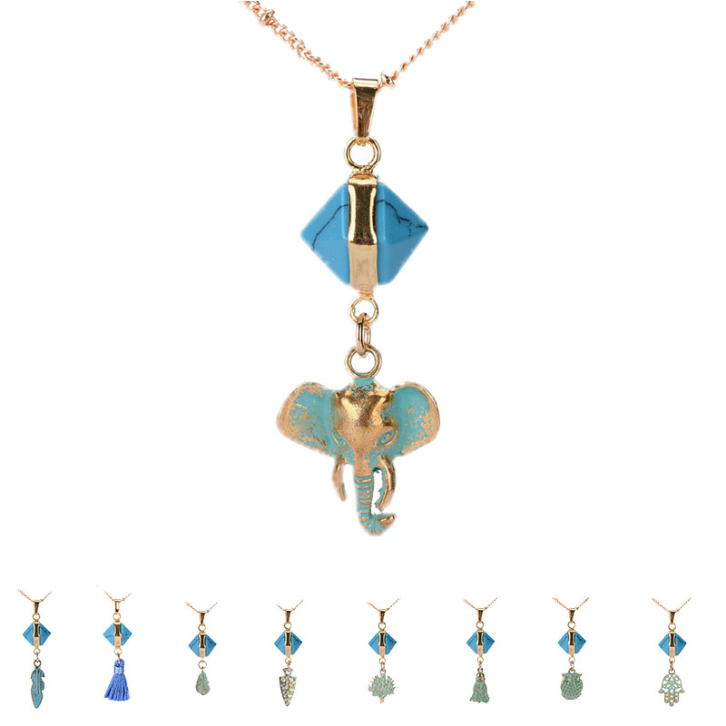 MiaoLan Turquoise Necklace Gold Plated Elephant Feather Wisdom of Life Pendant Necklaces Women Collars Jewelry Fashion Jewelry(China (Mainland))