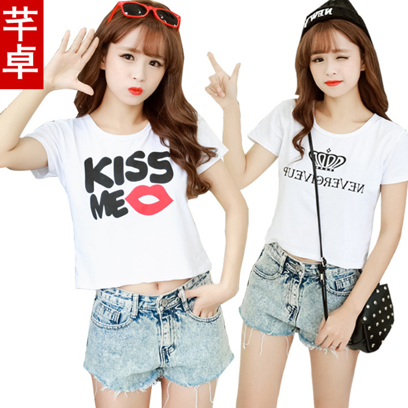 New 2016 Fashion Women Blouses Sexy Tops Summer Plus Size Slim Students O-Neck Print Shirts Smock Girls Elastic Blusas Free Size(China (Mainland))