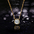 Simple none fade gold plated zircon short necklace women necklaces pendants fashion jewelry wholesale