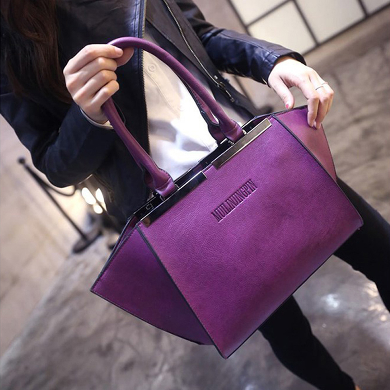 women leather handbags ladies trapeze bag fashion 2015 designers high quality hand casual shoulder bags female luxury big tote(China (Mainland))