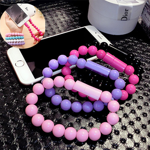 New For iphone 5 5s iphone 6 plus Micro snyc hand chain bracelet colorful bead cord High speed USB rapid charging data cable(China (Mainland))