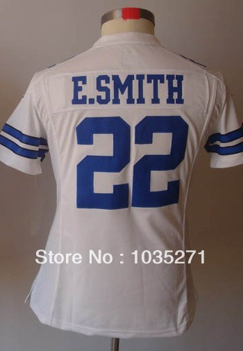 Top Sale #22 Emmitt Smith Women Jersey,Stitched Logo Embroidery Accept mix order Free Shipping(China (Mainland))