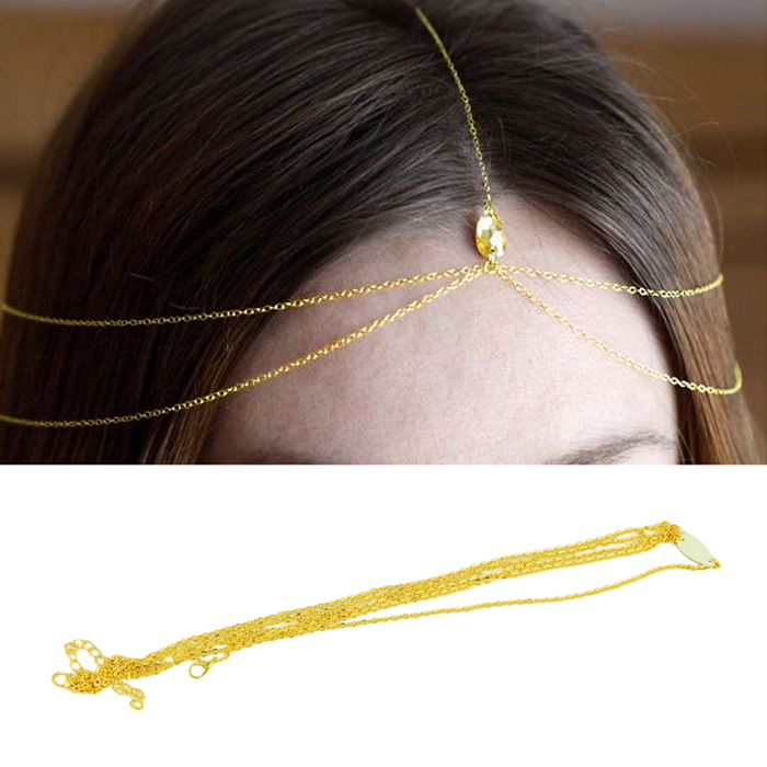 Delicate Bohemia Sexy Lady Gold Wave Tassel Chain Crown Head Cuff Headband Punk Waterdrop Crystal Hair Jewelry Gold,Silver(China (Mainland))