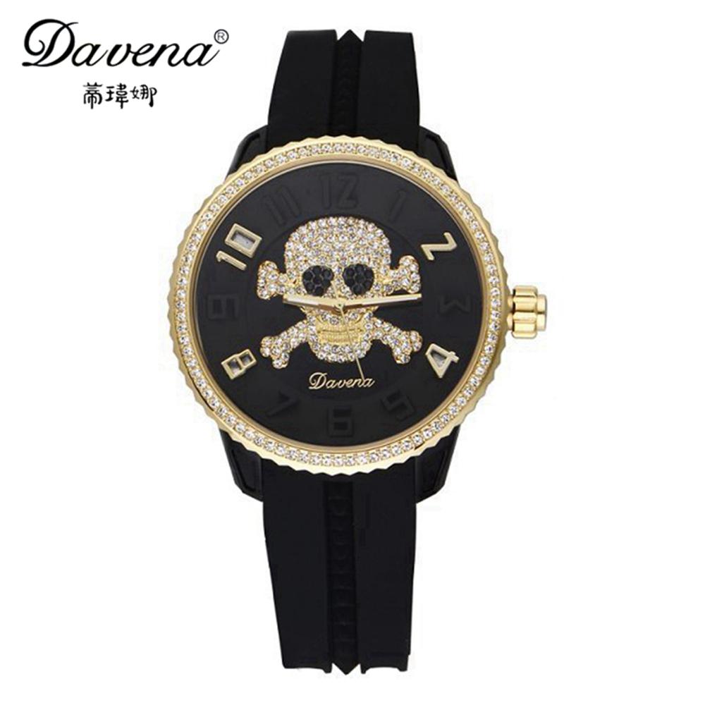 2014 New women dress rhinestone watches fashion casual quartz watch leather band Hot sale Luxury brand Davena 30859 relogio gift<br><br>Aliexpress