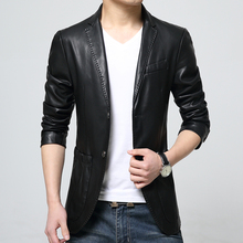 New 2016 formal dress slim fit pu leather jacket men two button men leather blazer jaqueta de couro men' clothing /PY20(China (Mainland))