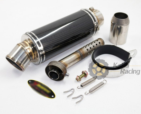 High Pressure Muffler : Id mm universal modified motorcycle carbon fiber exhaust