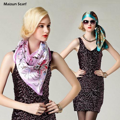 2015 Big Size 90x90cm Silk Square Scarf Women Fashion Brand High Quality Cheap Imitated Silk Satin Scarves Polyester Shawl Hijab(China (Mainland))