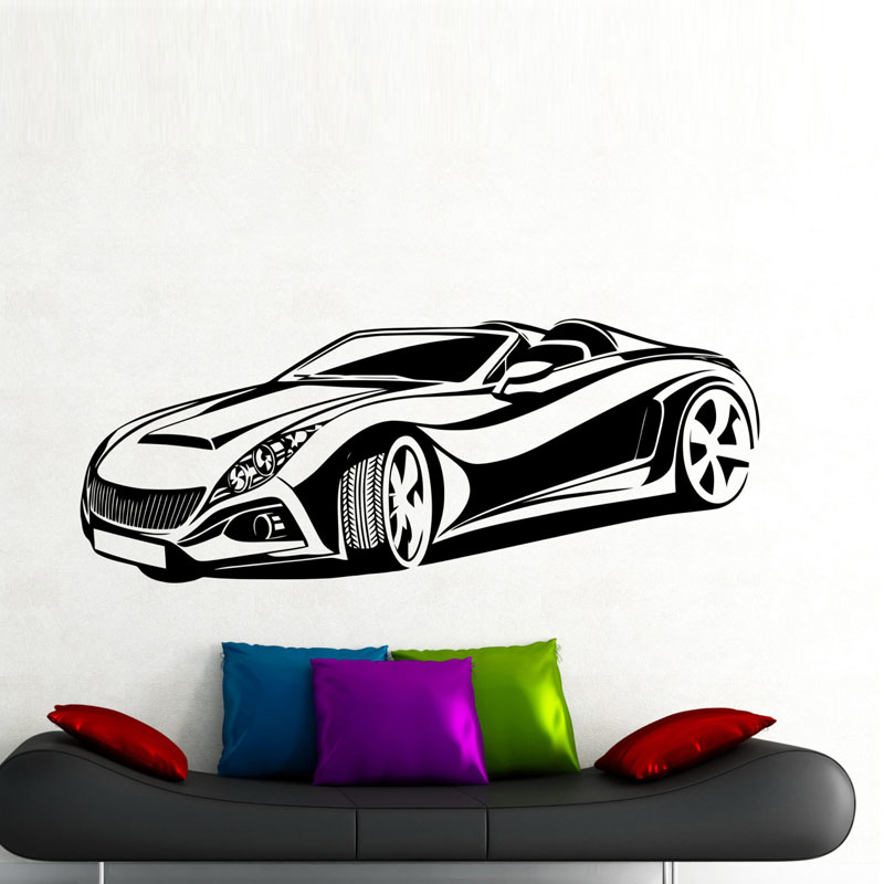 dctop sport racing car home decor wall stickers kids. Black Bedroom Furniture Sets. Home Design Ideas