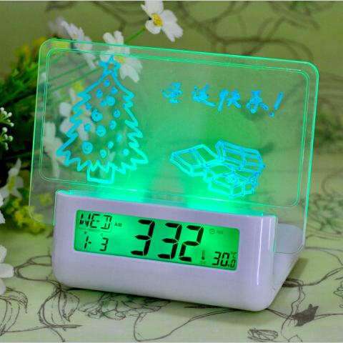 Children's gift Digital Message Board Clock Alarm Sound control Voice broadcast Blue/green backlight Temperature Calendar(China (Mainland))