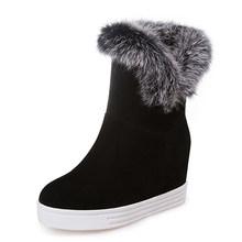 Gdgydh iyi kaliteli kışlık botlar kadın sıcak ayakkabı platformu yüksek topuklu 2019 siyah gri gerçek kürk bayan kar botları artı boyutu 43(China)