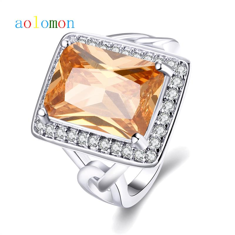 Exaggrated Rectangle Citrine Ring White Gold/Platinum Plated Ring CZ Diamond Inlaid With Zircon for Women(China (Mainland))