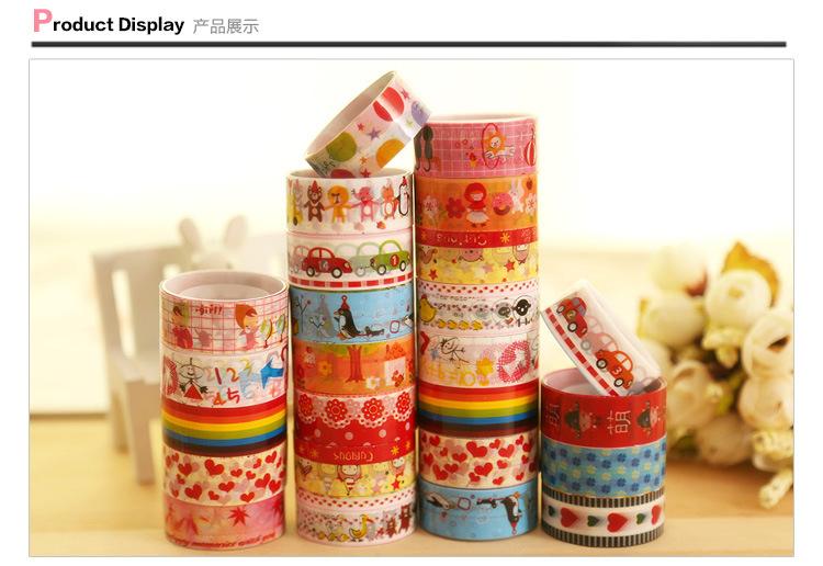 2015 1 pcs fashion Korea stationery small tape cartoon tape cartoon color tape adhesive tape(China (Mainland))