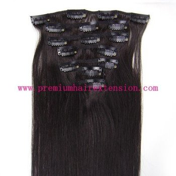 "16"" 18"" 20"" 22"" 24"" 26"" 7pcs human remy hair clip in extensions clip on hair #1B natural black 70g/set 5set/lot"