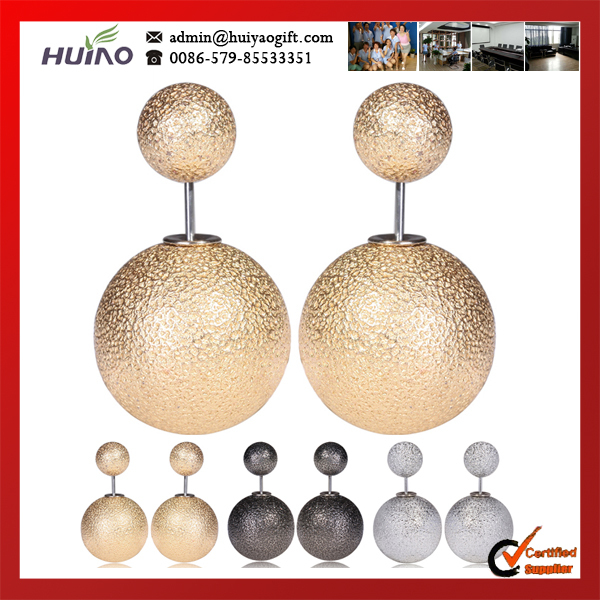 2015 Rushed Real Trendy Women Pearl Zinc Alloy Round Brincos Fashion Newest Design And Gun Color Stud Earrings For Christmas(China (Mainland))
