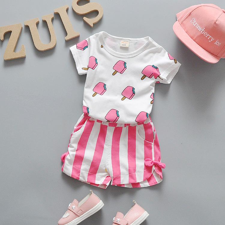 Summer Baby Girls Clothes Set 100% Cotton Ice Cream T-shirts + Shorts 2pcs Infant Girls Sports Suit Toddler Girls Clothing Set(China (Mainland))