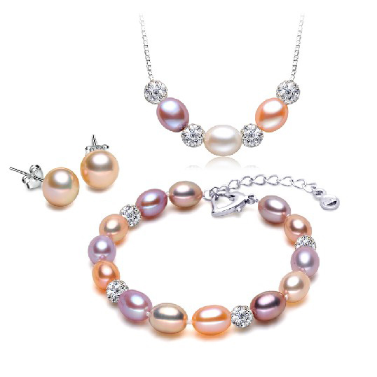 Natural Pearl Jewelry Set silver Earrings and Pendant Party Pearl Jewelry Sets for Women Flower Zircon Water-Drop Pearl Jewelry(China (Mainland))