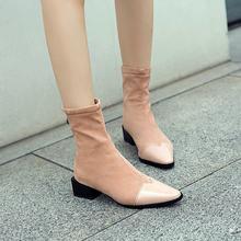 Kadın Moda Kare Ayak Çizmeler Kalın Topuk yarım çizmeler Fermuar Akın Deri Kış Bayan Ayakkabıları Siyah Pembe Şarap Kırmızı 2018 Yeni(China)