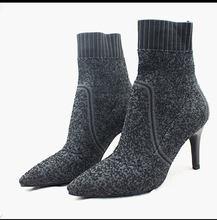 JAWAKYE tasarımcı Yün Örme Patik feminina yüksek topuklu yarım çizmeler kadınlar için gül haki elastik bahar Güz seksi çorap ayakkabı(China)